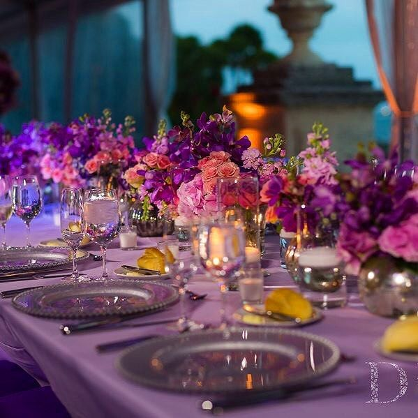 """#tbt to when @eggwhitesmiami rented our """"Silver Domus"""" charger plates for this romantic wedding at @vizcaya_museum 💜 