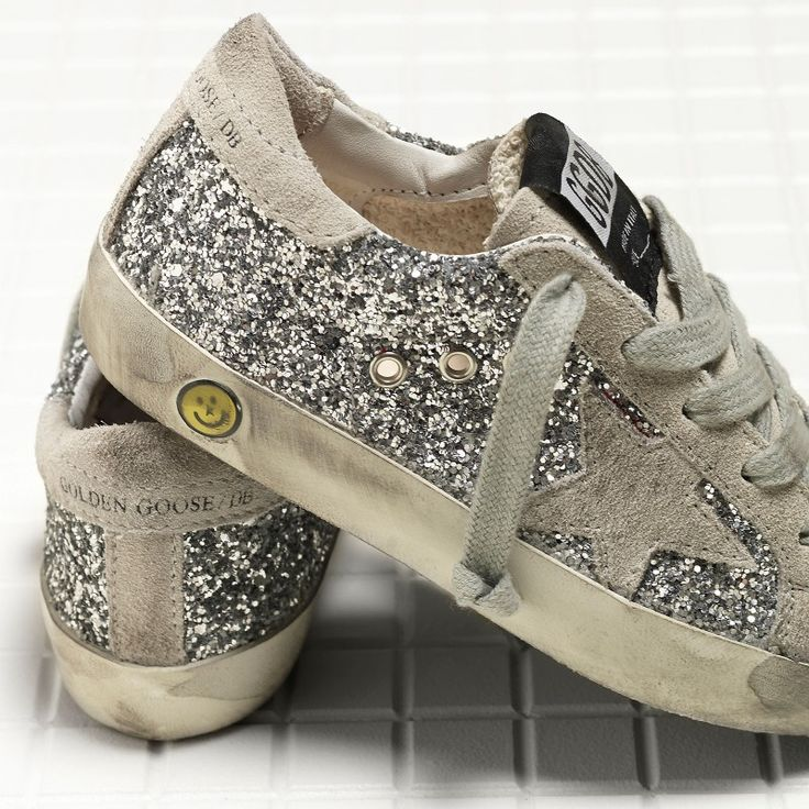 Golden Goose Super Star Sneakers In Leather And Glitter And Leather Star Kids - Golden Goose / GGDB