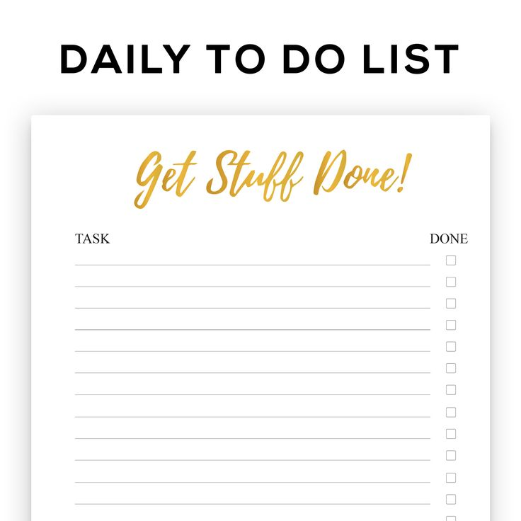 Printable gold foil Get Stuff Done to organise and priortise your tasks and manage your time