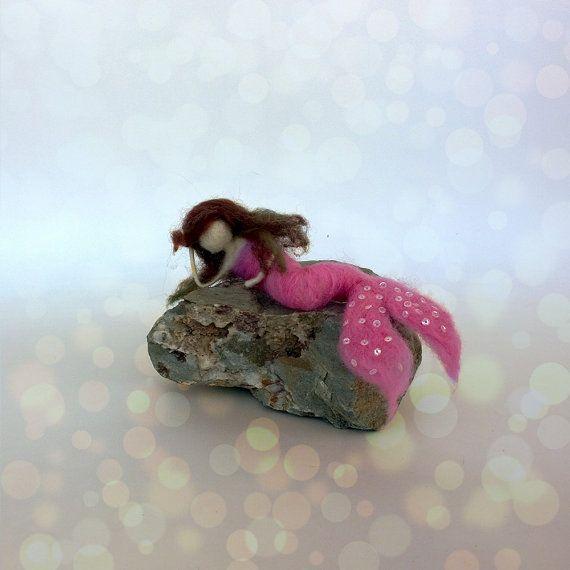 Little Mermaid sparkling pink Felt little mermaid by CozyMilArt