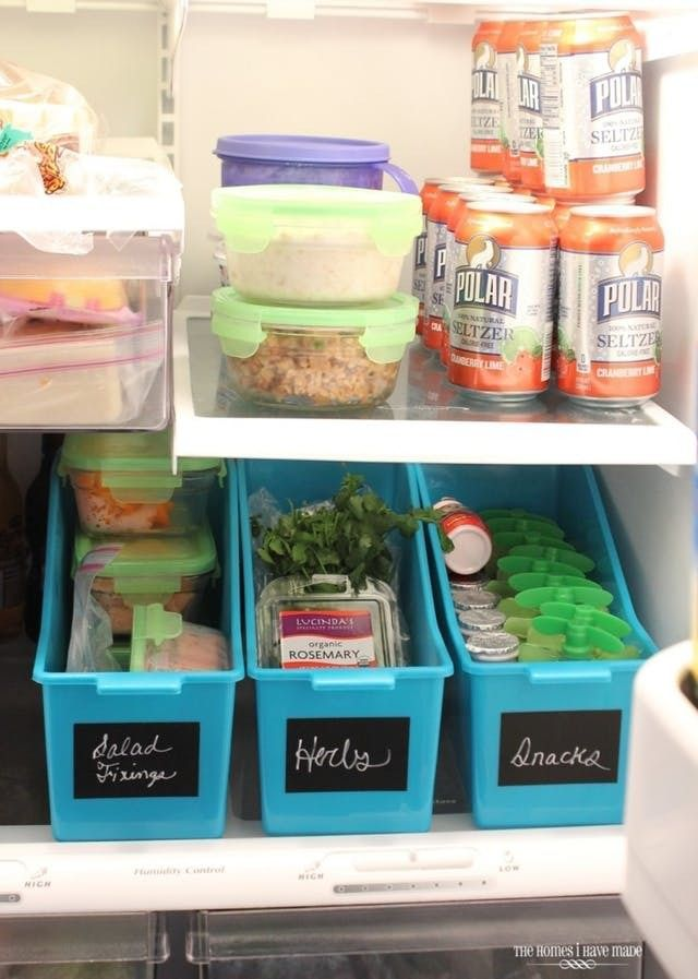 The Best Hacks for Organizing Your Refrigerator. Whether your fridge is a side by side french door style, or a more traditional top and bottom arrangement, odds are you could use some ideas for organization. Here are the best hacks and DIY tips from the dollar store and more using containers, baskets, and more to get your shelves, drawers, and door in shape.