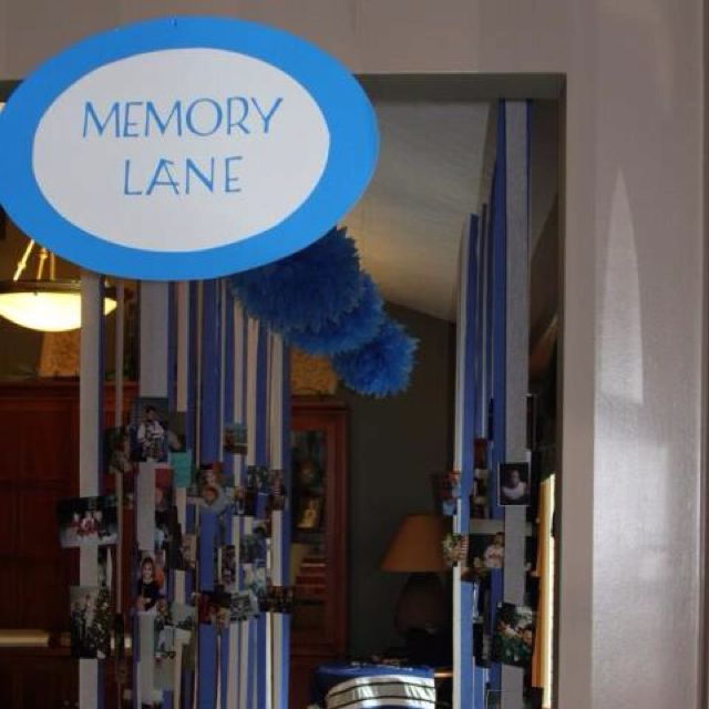 """Love this idea for a graduation party decoration! Pictures from birth all the way through graduation strung on streamers in order """"memory lane"""""""