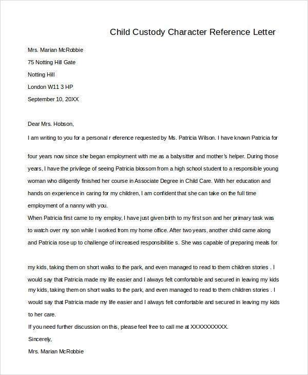 Child Custody Character Reference Letter Samples Best Of Sample