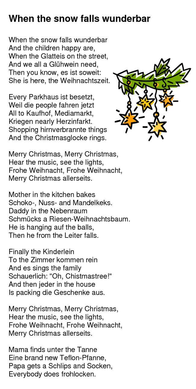 Kleines weihnachtsgedicht deutsch englisch