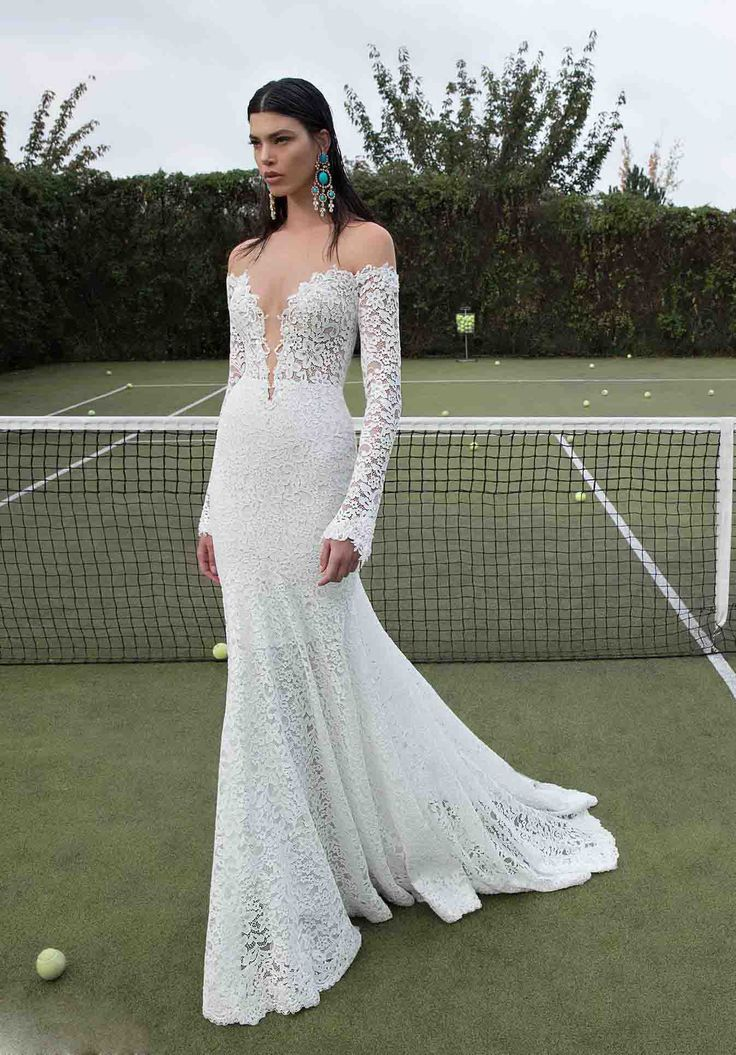 #Wishesbridal Long Sleeve Sweetheart Lace Backless #TrumpeMermaid #WeddingDress Abb0006