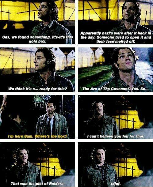 XD omg. Excellent. Aaw Sam and Cas. Woo Raiders reference.