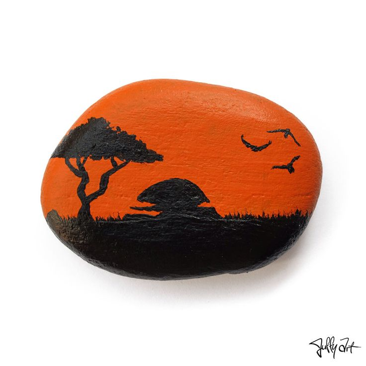 Sunset flying birds, Orange, nature silhouette, Handmade painted rock, art pebble stone, gift idea by JuffyArt on Etsy https://www.etsy.com/listing/265823211/sunset-flying-birds-orange-nature