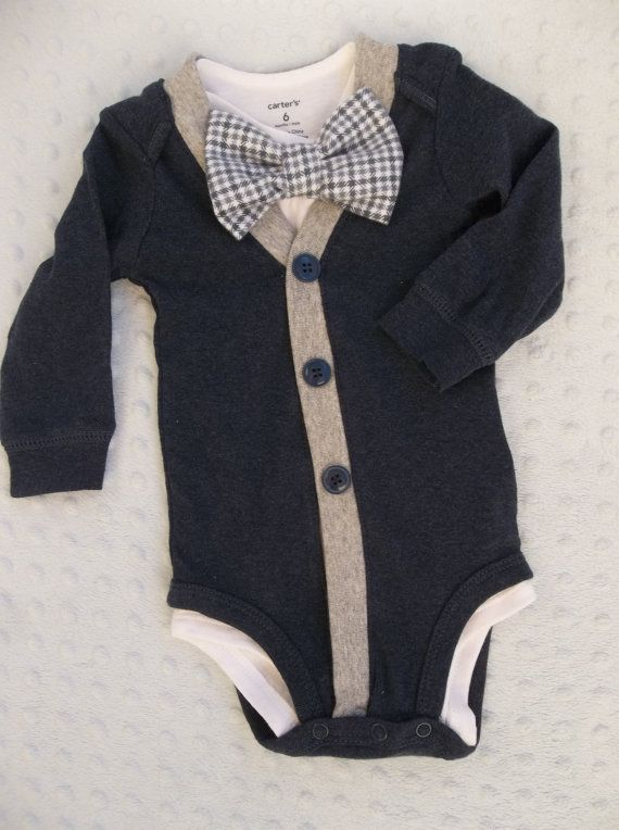 Baby Boy Cardigan Onepiece Grey Gingham Bowtie by groovyapplique Braxton needs this!!!
