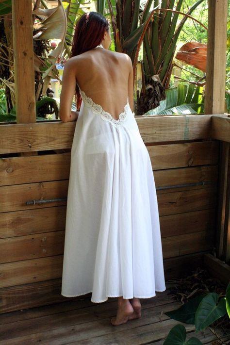 100% algodón blanco camisón sin espalda encaje Halter noche nupcial vestido ropa interior nupcial boda lencería ropa de noche luna de miel