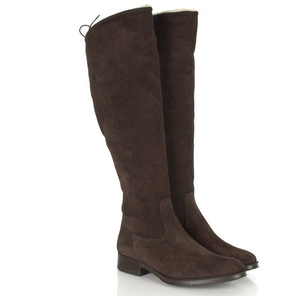 Lamica Brown Suede Women's Flat Knee Boot at Rojo Shoes ❤ liked on Polyvore featuring shoes, boots, brown knee high boots, suede knee high boots, flat knee boots, knee boots and flat brown knee high boots