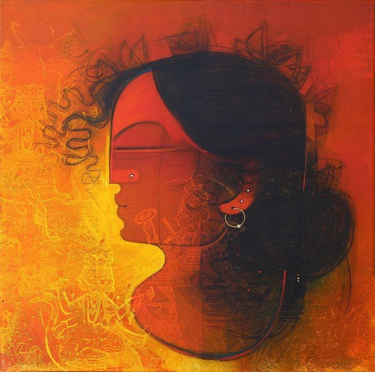 Amol Pawar Women in Profile I MixedMedia Canvas Paintings