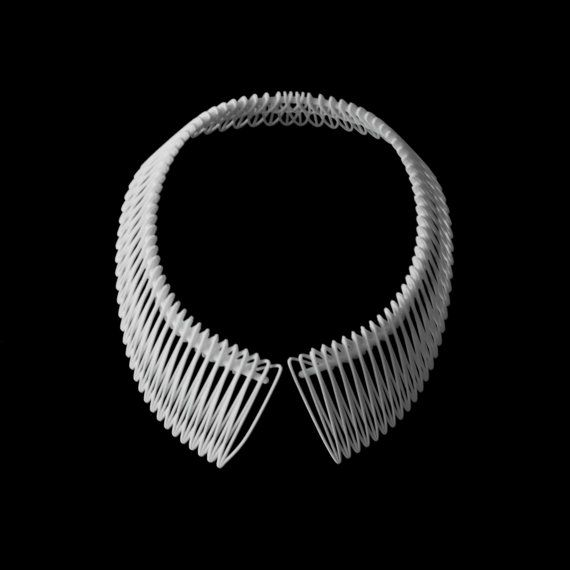 3D printed collar necklace.Join the 3D Printing Conversation: http://www.fuelyourproductdesign.com/
