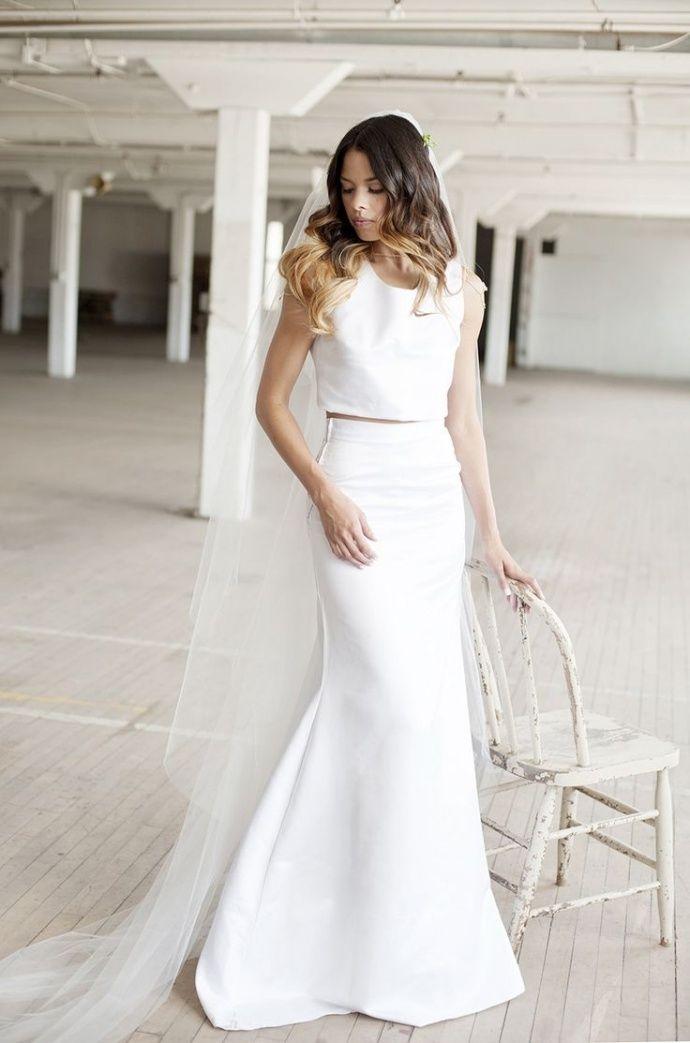 Crop top 2 piece plain wedding dress #wedding #dress #fashion