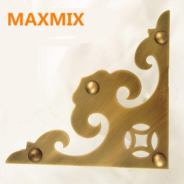MAXMIX 160 мм Античная дверь украшения угол цветок Полный меди кабинет угол Латунь Декоративный Лист Углу мебель из Цельного дерева
