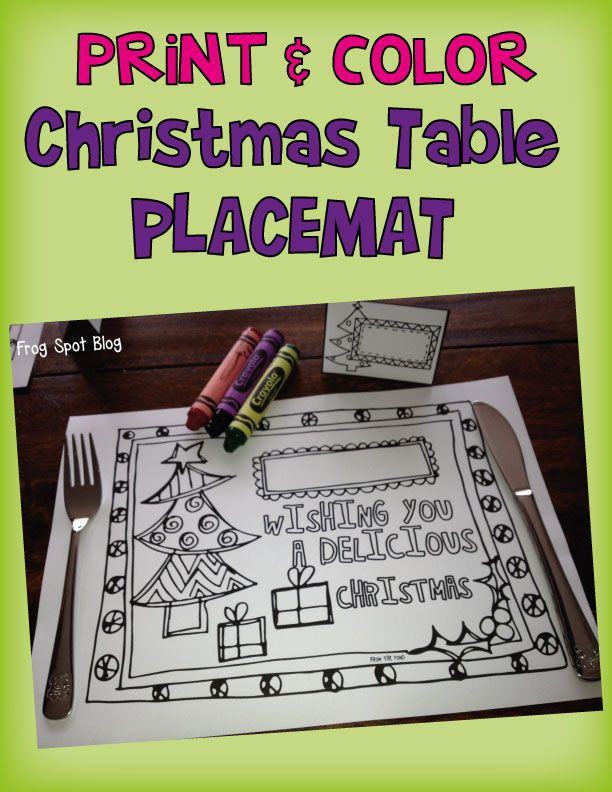 Print and Color Placemat for Christmas - Free