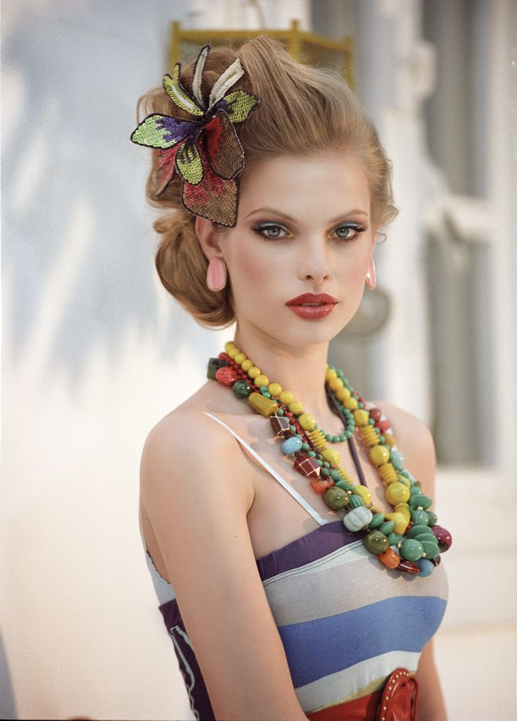 Retro Colorful and GORGEOUS Eyes! Huge chunky beaded necklaces  in different colors and materials blues oranges yellows browns pale greens Colorful wired flower head piece made from dead beads