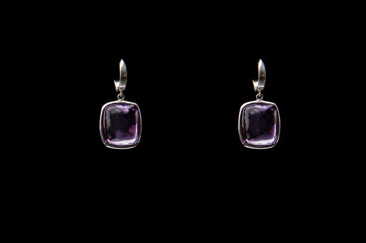 NINA double sided amethyst cabochon earrings.