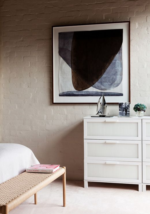 Master Bedroom U2013 Judith Wright Painting, Moller Bench From Great Dane,  Sophie Is Proud To Say Her Chest Of Drawers Is From IKEA!