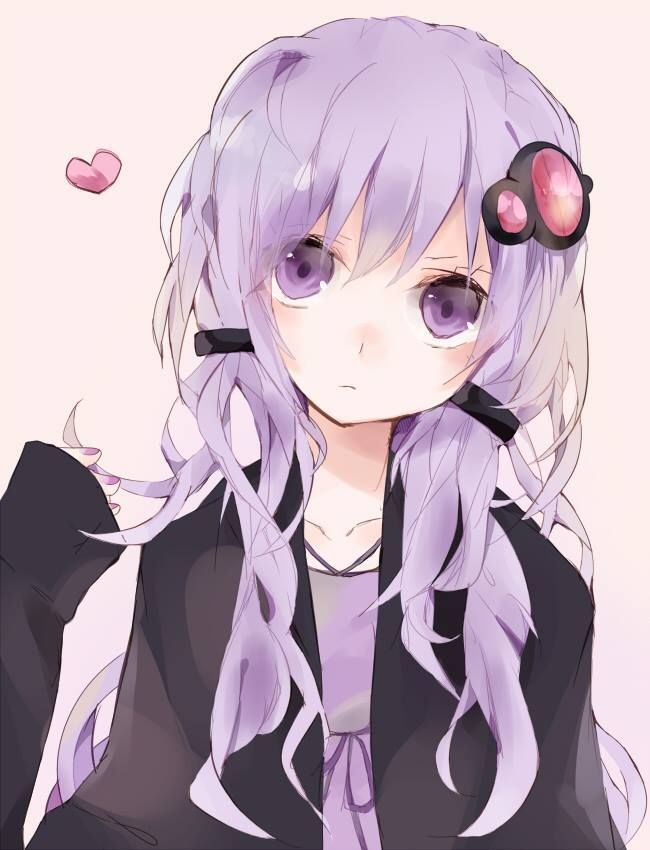 Anime girl with lavender hair and purple eyes. Description from pinterest.com. I searched for this on bing.com/images