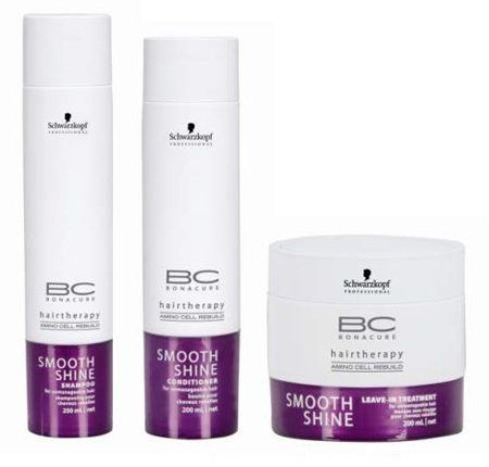 Schwarzkopf BC Bonacure Hairtherapy Smooth Shine Beauty Set, 3 pc by Schwarzkopf. $47.30. 1 Shampoo, 8.5 oz. Made In Germany. 1 Butter Treatment, 6.8 oz. 1 Conditioner, 6.8 oz. BC Smooth Shine offers a complete range of care products to create and revive all looks. By incorporating the new innovative IPS COMPLEX and AMINO CELL REBUILD technology, for the first time there is a complete range, keeping hair not only caressably soft with an illuminating shine but also repairing th...