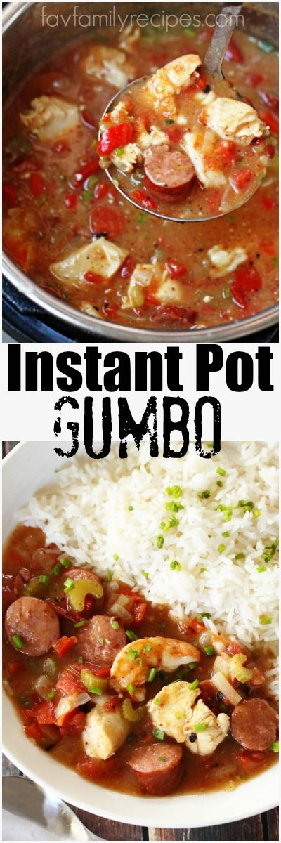 This Instant Pot Gumbo is so easy to make and even easier to clean up. Made with sausage, chicken, and shrimp, this gumbo is BURSTING with flavor! via @favfamilyrecipz