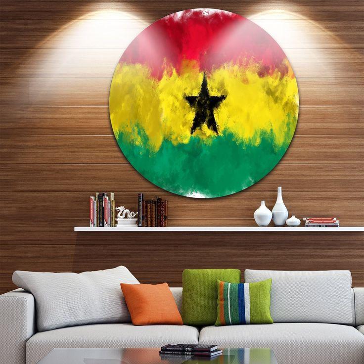 Designart 'Ghana Flag Illustration' Flag Painting Disc Metal Wall art