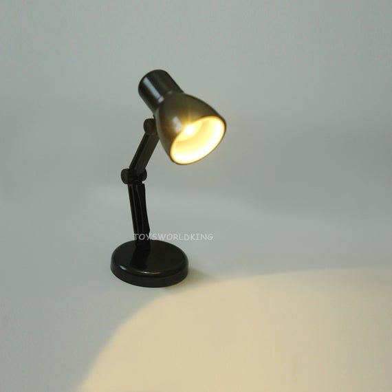 1 6 Scale Black Desk Lamp Model Mini Toy Fits 12 In Etsy Desk Lamp Black Desk Lamps Dollhouse Toys