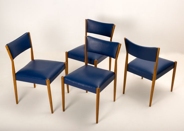Four Teak Dining Chairs in Blue Vinyl Upholstery by Parker Furniture c1965-67