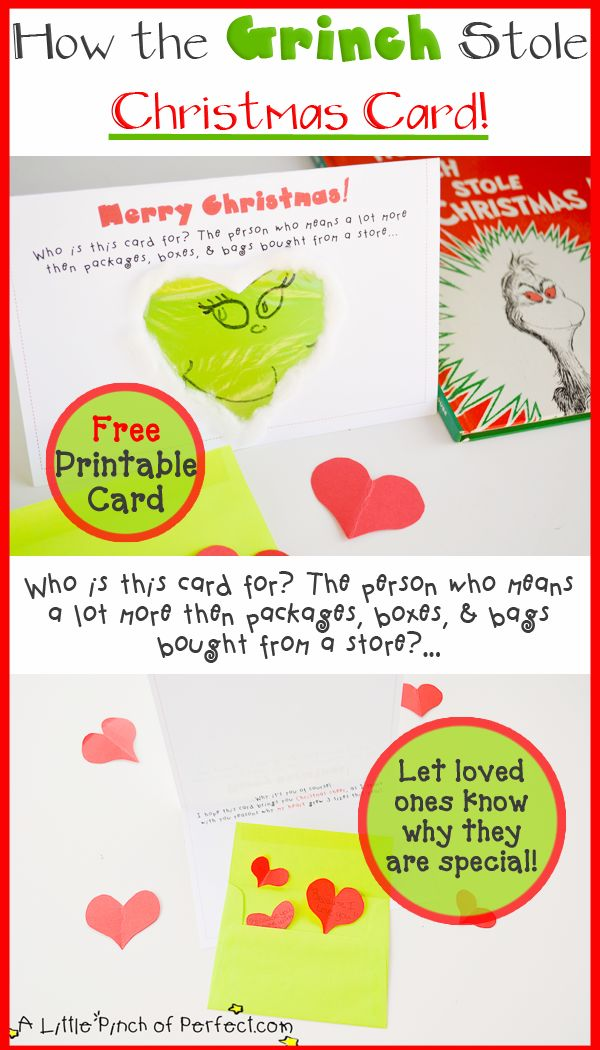 A Little Pinch of Perfect: How the Grinch Stole Christmas Printable Card-let loved ones know why they are special this holiday season with this adorable card.