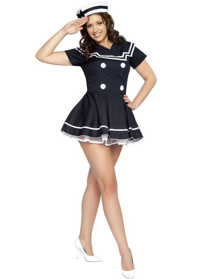 Pin Up Sailor Captain Womens Plus Size Costume