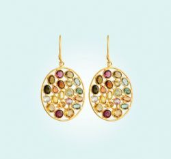 Tourmeline Oval Jali Earrings