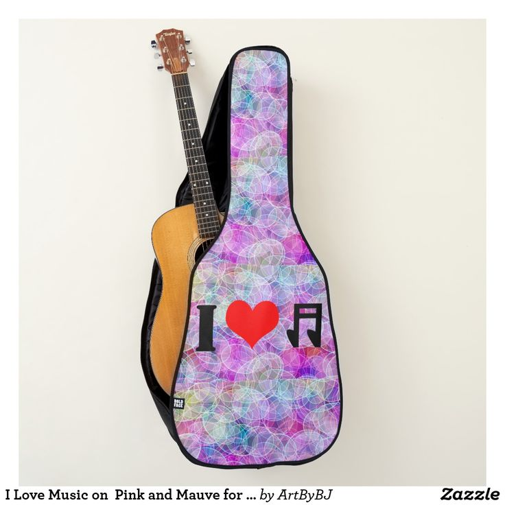 I Love Music on  Pink and Mauve for Acoustic Guitar Case  - A Wonderful Christmas Present for ANY Guitar Player - order it as an Electric Guitar Case or an Acoustic Guitar Case.