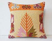 20x20 Traditional Decorative Pillow cover Shabby chic throw pillow case Tribal kilim Cushion Ethnic Pillowcase Outdoor Pillow large orange