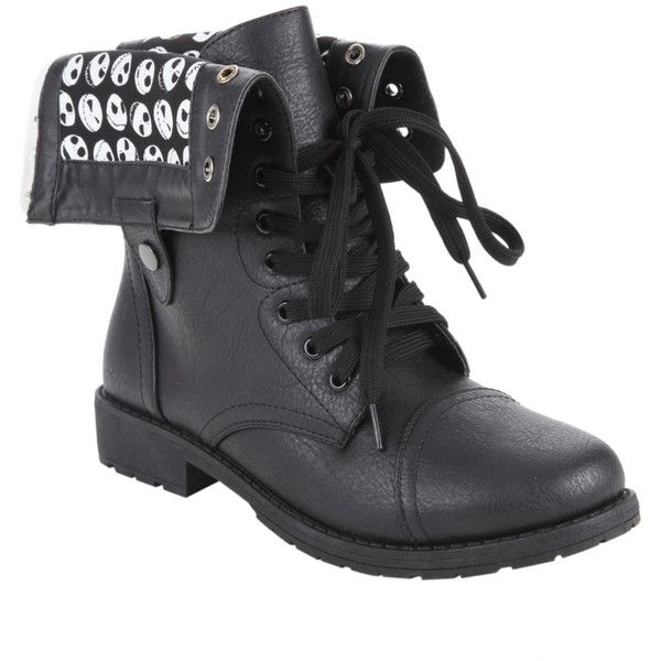 Hot Topic The Nightmare Before Christmas Jack Heads Combat Boot ($50) ❤ liked on Polyvore featuring shoes, boots, black, black fold over boots, lace up combat boots, lace up boots, military boots and fold-over combat boots