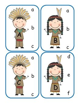 Native American Clip Card Center (free; from Lorie Duggins on TpT)