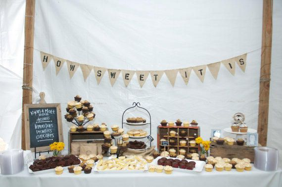 How Sweet it is Burlap pennant banner - rustic wedding decor - dessert table - reception | LUUUX