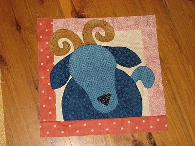 goat applique farm quilt square. #goatvet is going to make this