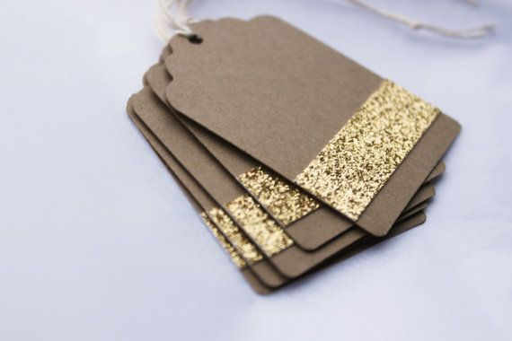 Gold Kraft Glitter Gift Tags - Christmas Gift Tag - Golden - Gift Tag