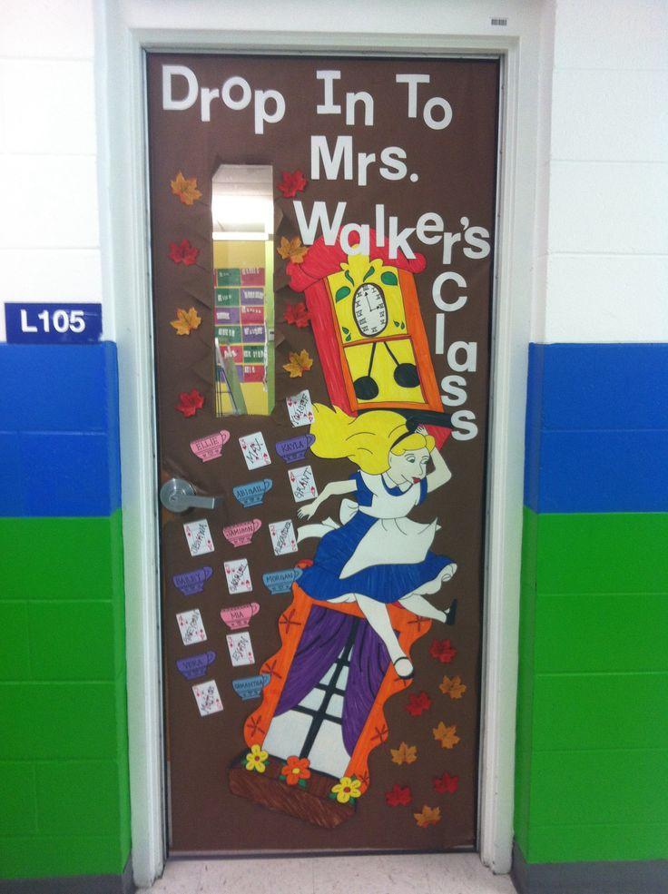 Kindergarten class doorAlice in Wonderland falling down