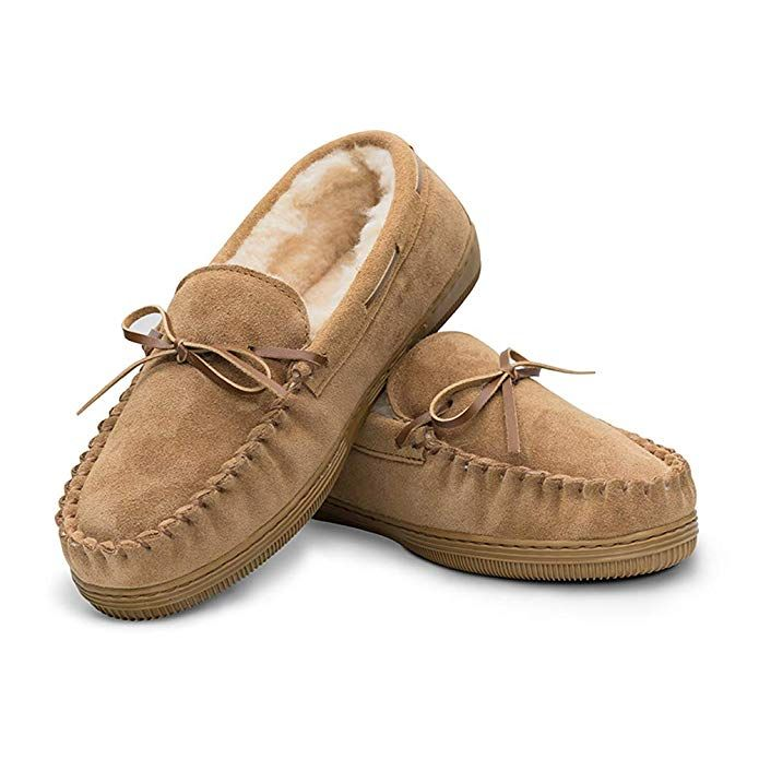 f3be36bc721880 Men's Genuine Suede Leather Faux Fur Lined Moccasin Slippers,Classic Flat  Slip On Indoor Outdoor