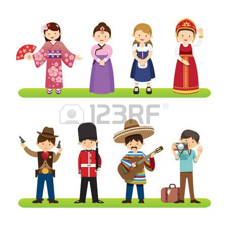 Set of international people isolated on white background. nationalities dress korea, japan, mexico, usa styles. flat design cartoon style. vector Illustration photo