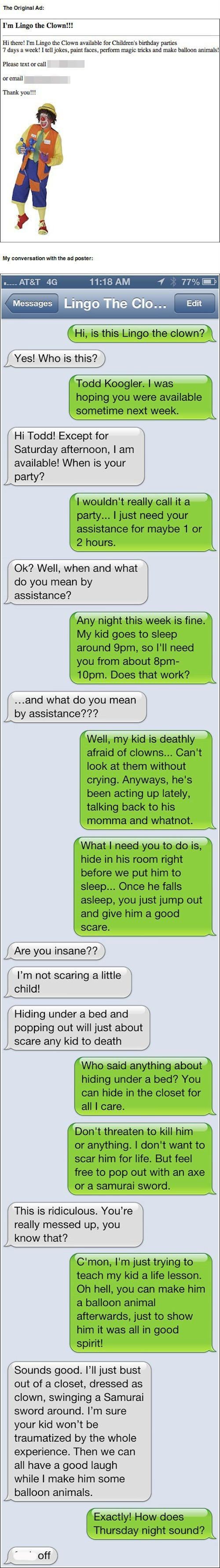 Why is the clown named lingo? I'm not sure if that means something in clown lingo.