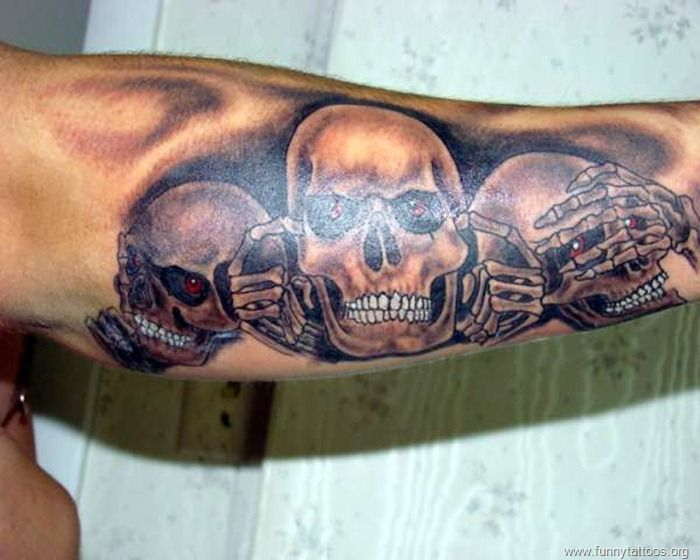 3 skull arm tattoo skull tattoo designs for men. Black Bedroom Furniture Sets. Home Design Ideas