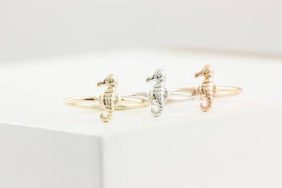 Seahorse Ring, Seahorse Silver Ring, Sea Gold Ring, Beach Silver Ring, Animal Silver Ring, Animal Lovers Ring, Dainty Stacking Ring, SR0412