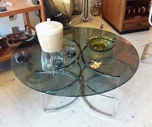 Smoked glass and chrome coffee table - 1970s vintage City of Toronto Toronto…