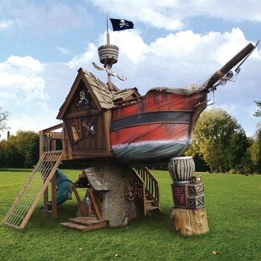 The Pirate Ship Playhouse - Hammacher Schlemmer - StyleSays: Ship Playhouse, Pirate Ships, Idea, Tree Houses, Outdoor, Treehouse, Kids