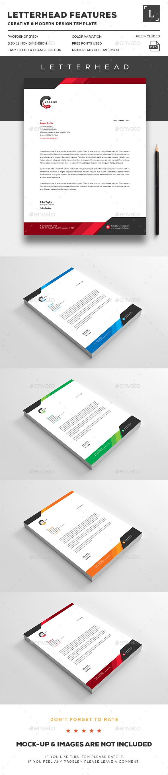 Letterhead Design Template - Stationery Print Template PSD. Download here: http://graphicriver.net/item/letterhead/16388835?ref=yinkira