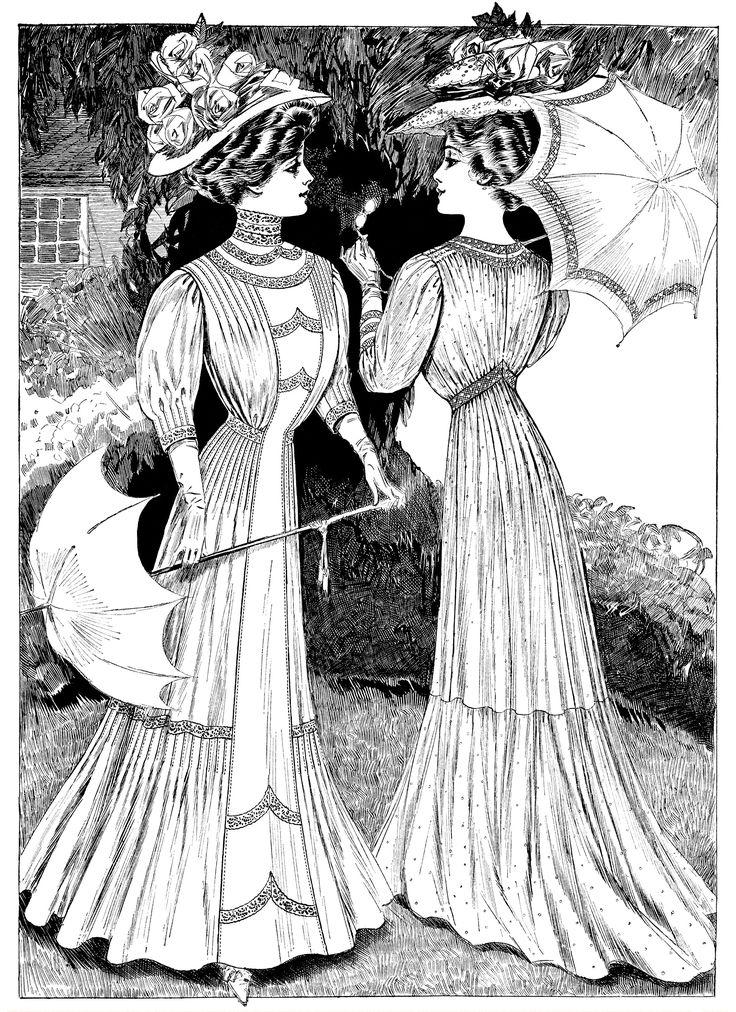 edwardian fashion sketch victorian lady clip art lady