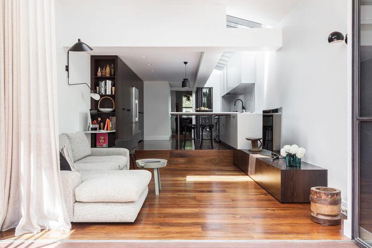 Living room from Sydney terrace house renovation by TFAD. Photography: Tom Ferguson   Story: Belle