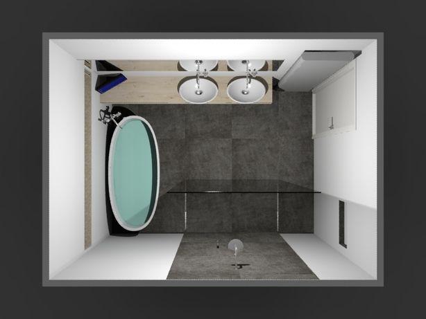 (De Eerste Kamer) Ovaal vrijstaand bad met inloopdouche. In deze badkamer staat een prachtig vrijstaand bad. De vormgeving van zowel de waskommen als het bad is ovaal. Het plateau waarop de waskommen zijn geplaatst is van massief eiken en maar liefst 10 centimeter dik en 260 centimeter breed. De maatwerk spiegel boven de waskommen heeft dezelfde breedte gekregen. De maatwerk inloopdouche is zeer royaal. De glazen douchewand is 160 centimeter breed. De thermostaatkraan, handdouche en…